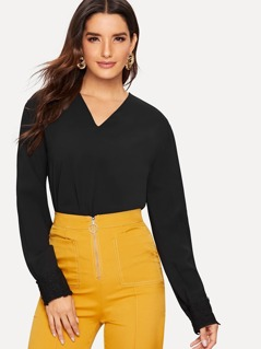 V-neck Long Sleeve Solid Top