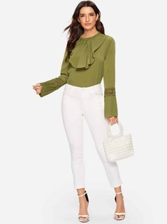 Jabot Collar Lace Pleated Sleeve Top