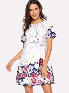 Animal & Floral Print Tunic Dress