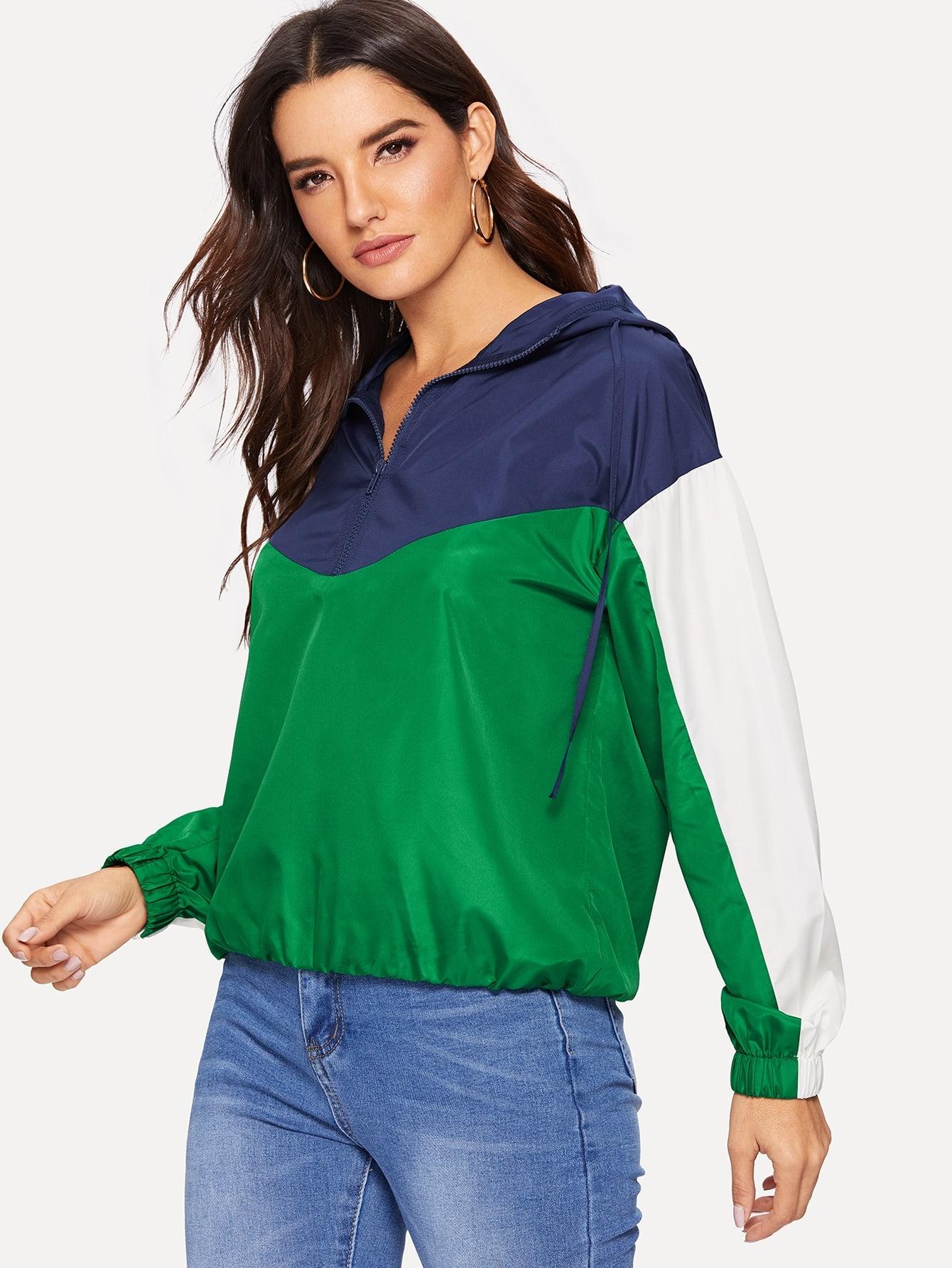 Купить Контрастная куртка ветровки с капюшоном и карманом и молнией, Juliana, SheIn