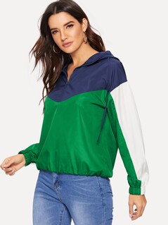 Colorblock Zip Half Placket Windbreaker Hoodie Jacket