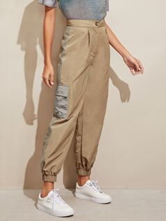 Glitter Mesh Side Tapered Pants