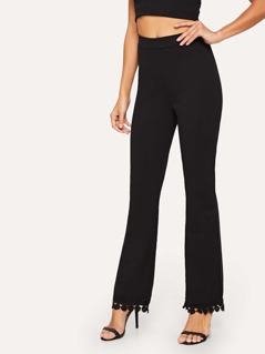Tassel Detail High Waist Flare Pants