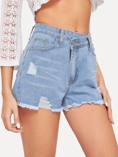 Asymmetric Waist Ripped Raw Hem Denim Shorts