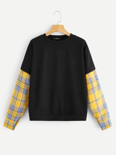 Contrast Plaid Sleeve Pullover