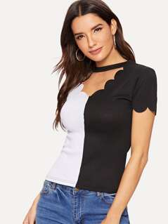 Scalloped Trim V Cut Neck Two-tone Top