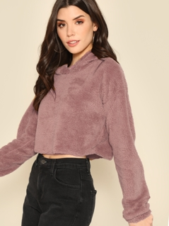 Drop Shoulder Crop Teddy Hoodie