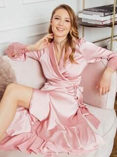 Shawl Collar Ruffle Dip Hem Dress