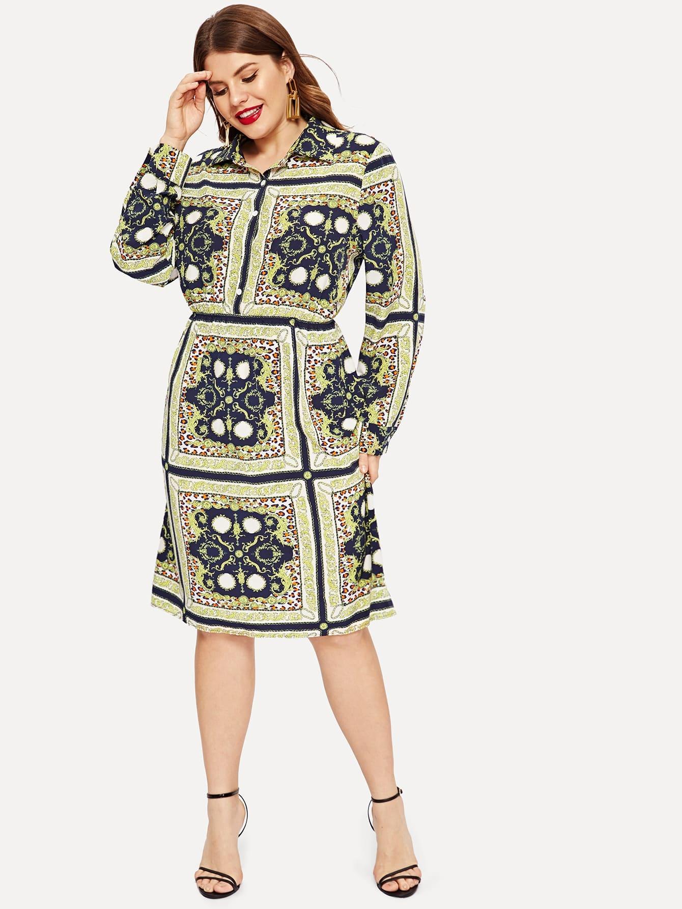 Купить Размер плюс платье на пуговицах с модным принтом, Isabela, SheIn