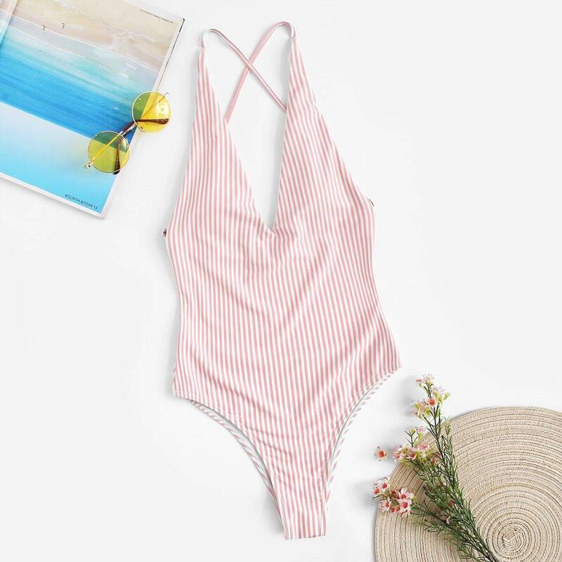 Striped Criss Cross Backless One Piece Swimsuit, Pink pastel