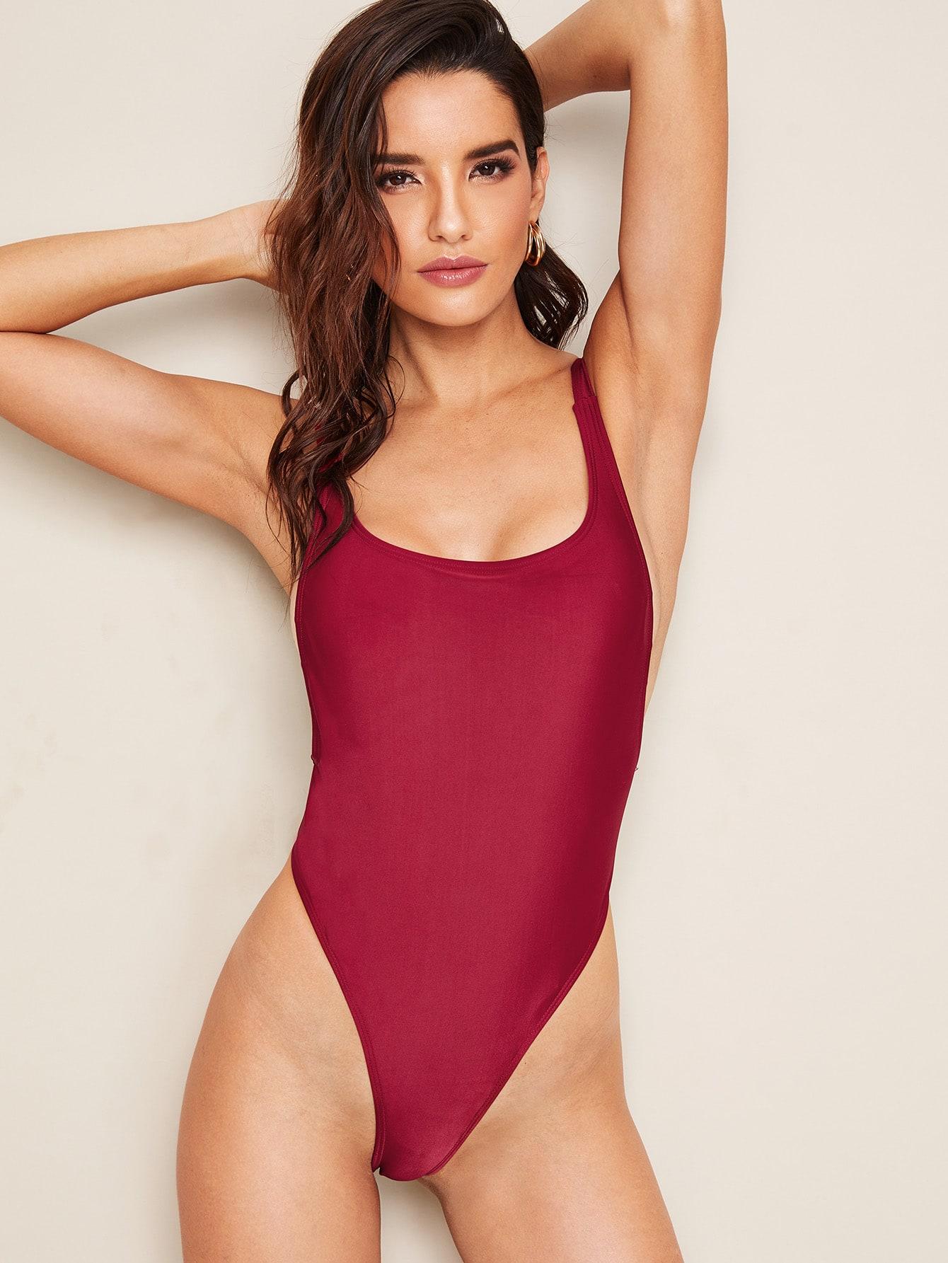Купить Слитный купальник с квадратным вырезом и вырезом на спине, Juliana, SheIn