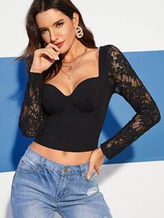 Lace Sleeve Bustier Crop Top