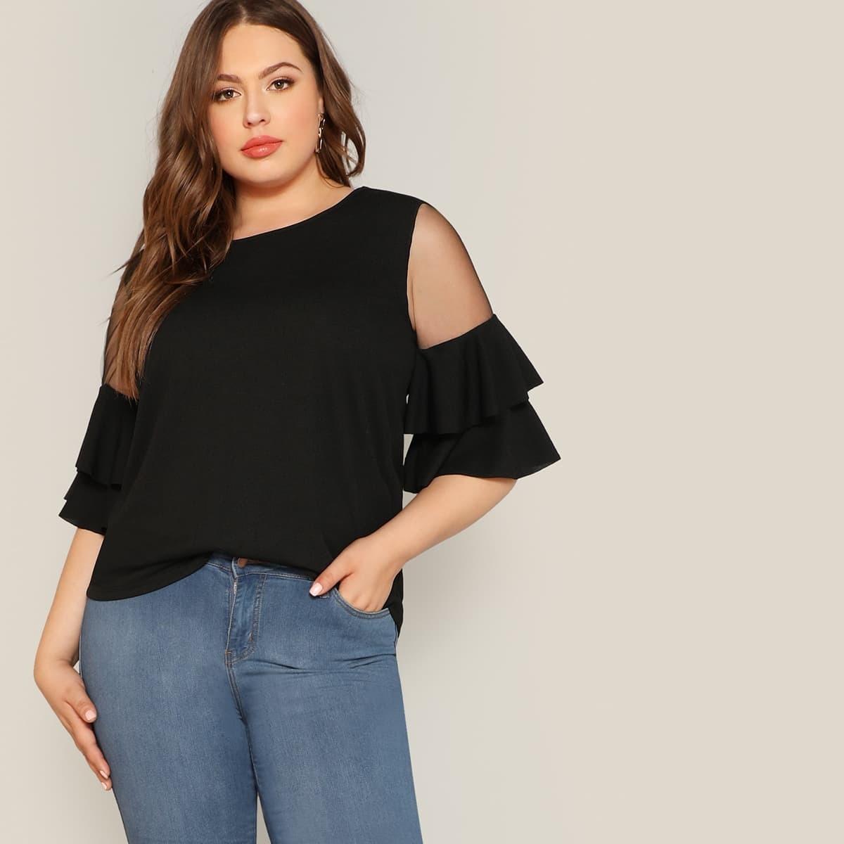 Zwart Elegant Vlak Grote maten blouses Rimpeling