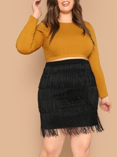Plus Layered Fringe Detail Skirt