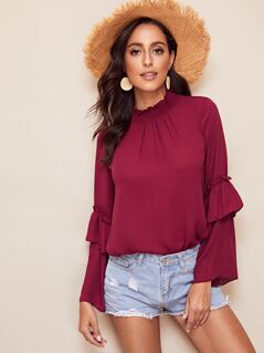 Shirred Neck Layered Flounce Sleeve Frilled Top