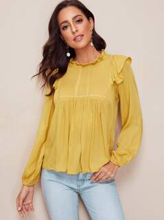 Frill Neck Bishop Sleeve Top