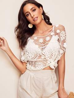 Crochet Guipure Lace Top Without Bra