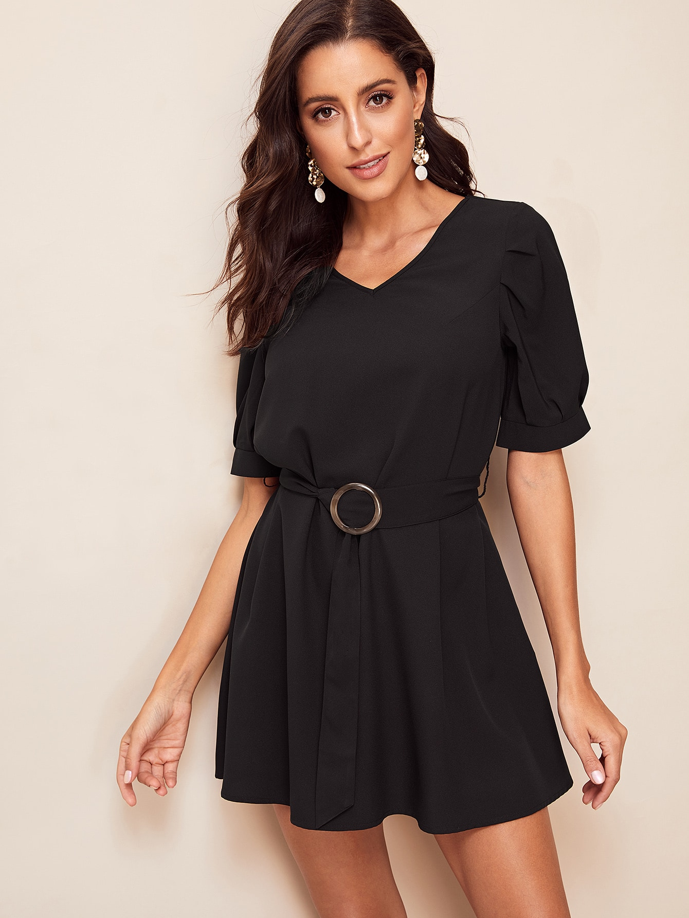 Купить Платье с двойным v-образным вырезом и поясом, Mary P., SheIn