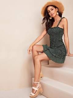 Frill Trim Polka Dot Smocked Cami Dress