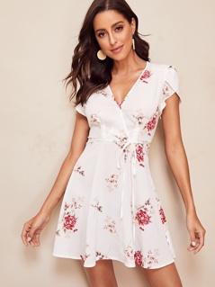 Petal Sleeve Tie Waist Wrap Floral Dress