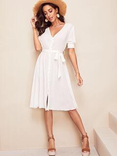 Shirred Panel Self Belted Shirt Dress