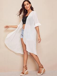 Open Front Bell Sleeve Solid Kimono
