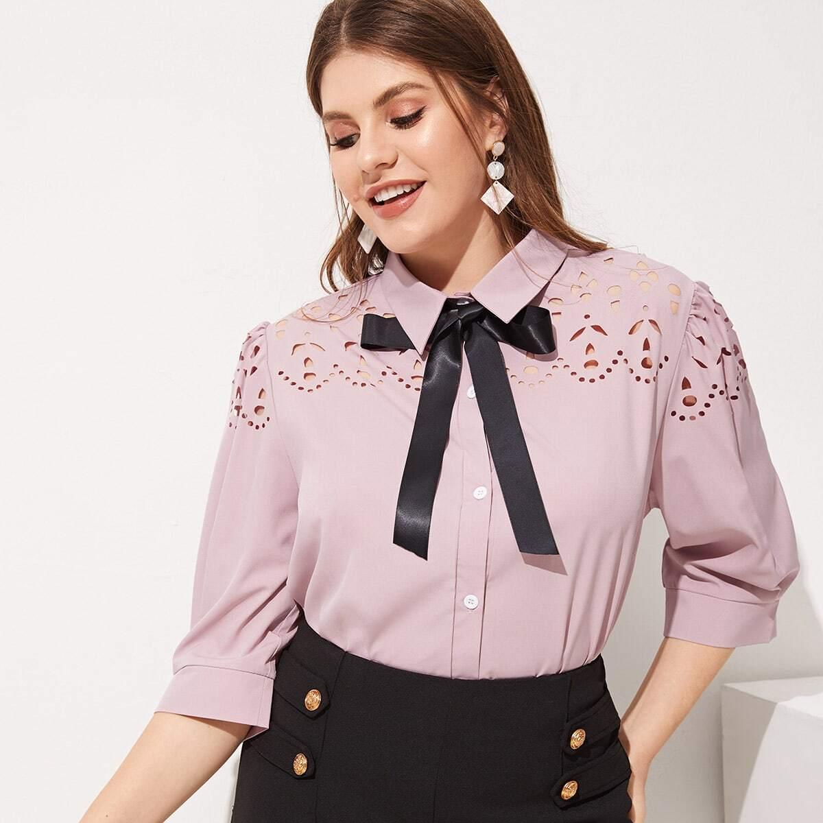 Roze  Elegant Grote maten blouses Tie neck