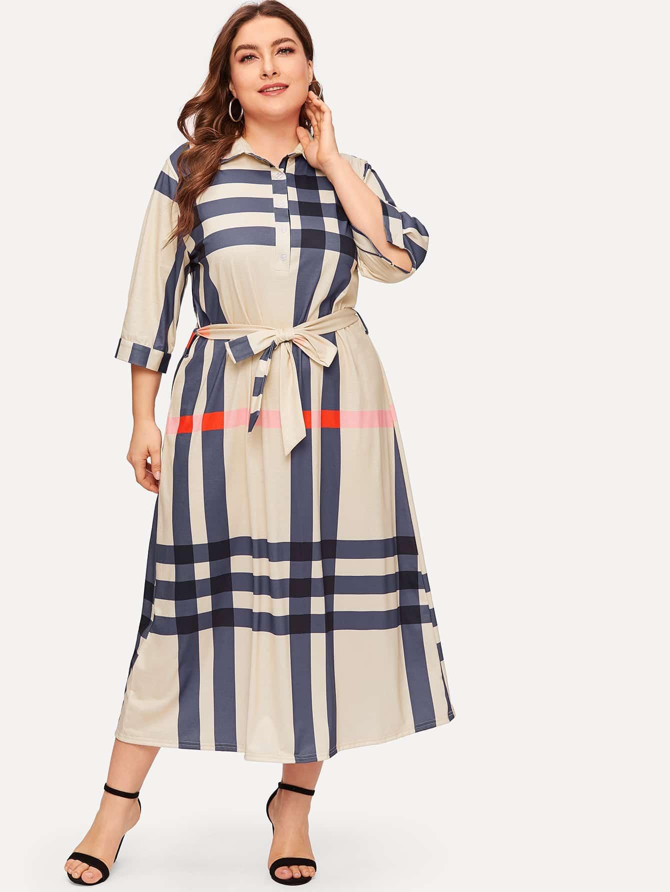 Размера плюс платье в клетку с поясом