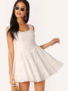 Button Detail Sleeveless Shirred Skirt Dress