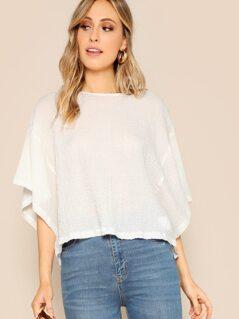 Textured Boxy Short Sleeve Round Neck T-Shirt