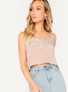 Lace Trimmed V-Neck Cropped Cami Top