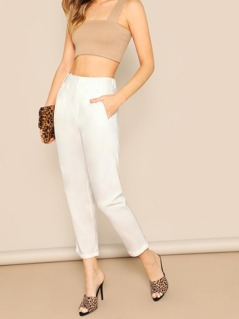Elastic Waist Side Pockets Cropped Straight Pants