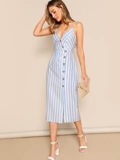Button Front Back Cut Out Tie Stripe Midi Dress