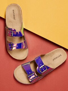 Double Holographic Buckle Slide Footbed Sandals