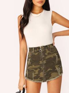 Zip Front Distressed Raw Hem Camo Twill Mini Skirt