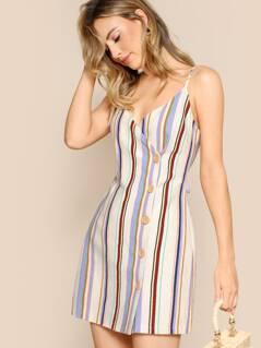 Asymmetric Buttoned Plaid Sleeveless Mini Dress