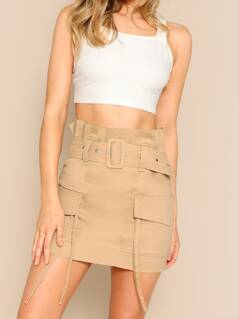 Belted Waist Side Pockets Twill Cargo Mini Skirt