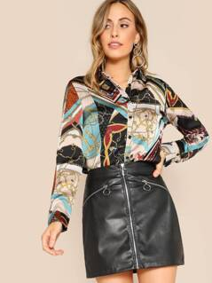 Button Front Mixed Chain Scarf Print Blouse