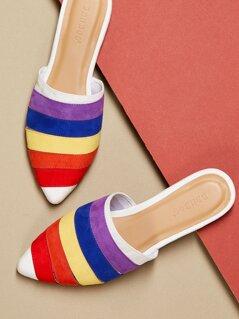 Pointy Toe Slip On Rainbow Flat Mules