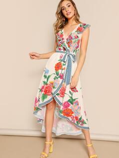 Floral Faux Wrap Ruffle Bodice Waist Tie Dress