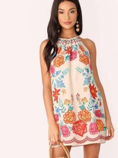Neckline Keyhole Tie Closure Floral A-Line Dress