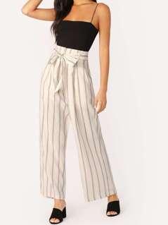 Waist Tie Striped Wide Leg Linen Palazzo Pants