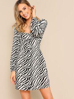 Sweetheart Neck Puff Sleeve Buttoned Zebra Dress