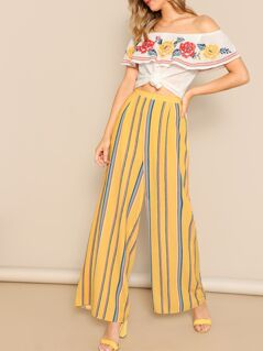 Elastic Waist Wide Leg Striped Palazzo Pants