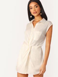 Elastic Waist Twist Front Linen Mock Dress Romper