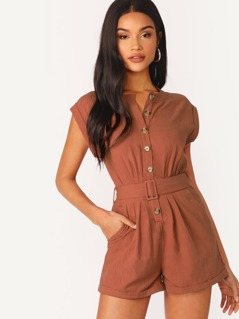 Button Front Elastic Belted Waist Romper