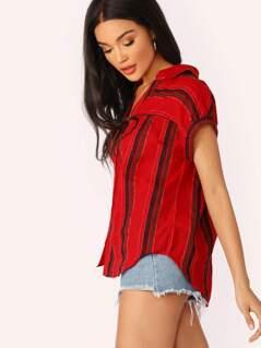 Button Front Cuffed Short Sleeve Stripe Shirt