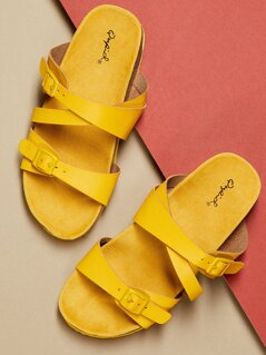 Thick Sole Double Buckle Slip On Footbed Sandals