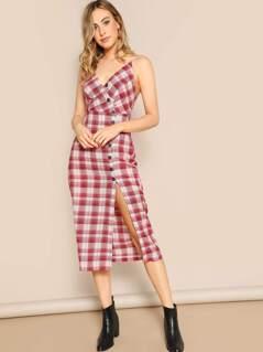 Asymmetric Buttoned Plaid Midi Sleeveless Dress