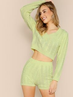 Cable Knit Crop V-Neck Sweater And Shorts Set